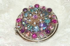 Beautiful  Cherub Vintage Weiss Jeweled Compact By Debbie-Pink, Jewel, box, treasure, trinket, Tea, Victorian, Vintage, Antique,Powder, Vanity, compact,