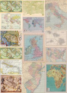 """Fabric Yardage -Many vintage Maps - yardage of Antique/Vintage World Map fabric - """"Glorious Maps"""""""