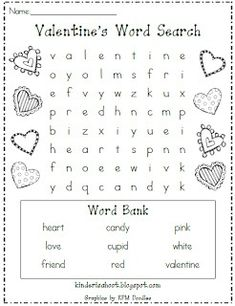 day activities The perfect little activity for the craziness surrounding Valentines Day! Great for morning work, a station, or for a fun class activity! Valentines Word Search, Valentines Day Words, Kinder Valentines, Valentines Day Activities, Valentines Day Party, Holiday Activities, Valentine Day Crafts, Be My Valentine, Holiday Crafts