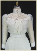 Ivory Stripe Chiffon Blouse, Style #0431