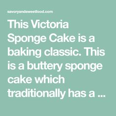 This Victoria Sponge Cake is a baking classic. This is a buttery sponge cake which traditionally has a jam and cream filling, but I served it plain with a dusting of icing sugar all over and it tas…