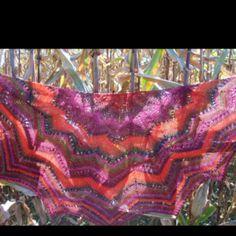 Northern Lights Shawl knit with Noro Yarn.