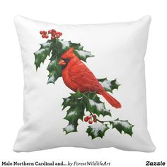 Male Northern Cardinal and Holly Throw Pillow