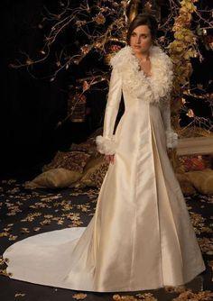 Long Sleeve Floor-length Wool & Satin Winter Wedding Dress