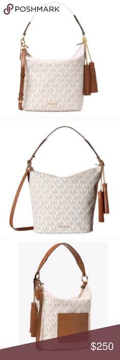 Offer $225 - Michael Kors Vanilla Elana 2 Way Bag NWT Elana large convertible shoulder bag by Michael Kors. Never used. Willing to bundle both the brown Elana and this one for a huge discount. MICHAEL Michael Kors Bags Shoulder Bags