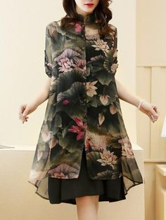 Band Collar Lotus Printed Chiffon Two-Piece Shift Dress Spring Dresses, Day Dresses, Dresses Online, Shift Dresses, Print Chiffon, Chiffon Dress, Pola Lengan, Types Of Sleeves, Dresses With Sleeves