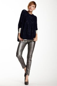 Black Jewel Metallic Finish Mid Rise Skinny Pant