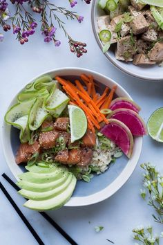 Salmon Poke Bowls + Easy Vegan Option