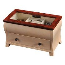 Mele & Co. Iris Walnut & Creme Glass Top Jewelry Box