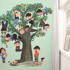 KEK Amsterdam Behang Apple Tree green multicolour vliespapier 243,5x280cm