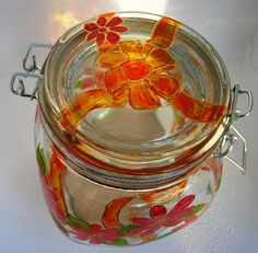 Canning Jar Hand Painted Glass Red Flower Orange Bow by CCsCrafts, $18.50