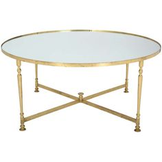 French Vintage Round Brass Coffee Table ($3,250) ❤ liked on Polyvore featuring home, furniture, tables, accent tables, coffee tables, brass accent table, brass table, brass coffee table and brass furniture