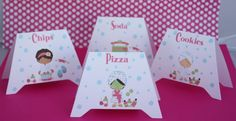 Spa Birthday Party Food Label Tents by yadyscreations on Etsy, $6.00