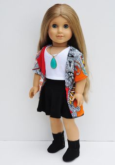 American Girl Doll Clothes - Kimono, Wrap, Red & Orange Paisley Patchwork, Top