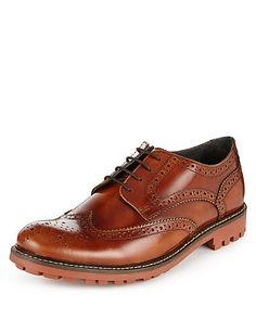 Leather Cleated Sole Brogue Shoes | M&S