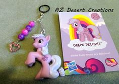 MOD PV Charm Beads Heart charm and Grape Delight My Little Pony Toy | DesertCreations - Accessories on ArtFire