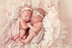 Cute headbands on babygirl twins - Newborn Photography