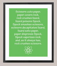 Big Bang Theory Rock Paper Lizard Spock quote