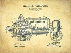 Wallis Tractor Patent Drawing From 1916 - Vintage Drawing by Aged ...