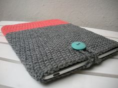 SALE iPad Cover Crochet iPad Sleeve in Color Block Coral Salmon and Grey. $26.00, via Etsy.