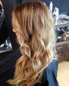 Honey blonde hair color, blonder at the bottom and front.