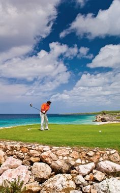 Golfing on Curacao's only championship resort golf course, right on the water.