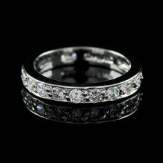 Mark Zuninos White Gold Regal bezel-style Shaped Stack Ring 7+Black Diamond #MarkZunino #Band