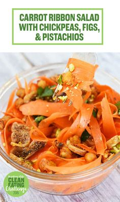 Carrot Ribbon Salad with Chickpeas, Figs, and Pistachios in Cider Vinaigrette