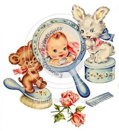 Vintage Image Nursery Baby Vanity Set With Bear Bunny Waterslide Decals Bab613