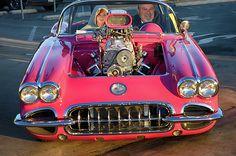 58 Pro-Street Corvette with blown big block caught cruising at Cruisin for a Cure, Costa Mesa, California