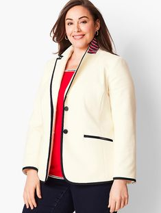 Shop Talbots for modern classic women's styles. You'll be a standout in our Woven Tipped Blazer - only at Talbots! Plus Size Tips, Plus Size Work, Plus Size Dresses, Plus Size Outfits, Look Office, Plus Size Blazer, Plus Size Coats, Classic Style Women, Talbots