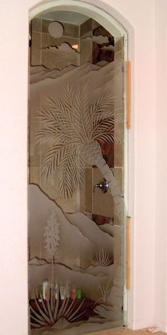 glass shower panel etched glass palm tree