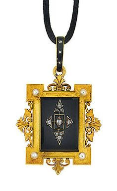 A late 19th century pendant. Set with a rectangular onyx plaque applied with a rose-cut diamond motif to a shaped rectangular surround with foliate quarters and seed pearl accents, glazed compartment to the reverse, to a black enamel and rose-cut diamond loop, French marks, unsigned, 5.6cm long