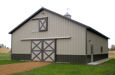 Visit the Lester Buildings Project Library for pole barn pictures, ideas, designs, floor plans and layouts. Carport Kits, Pole Barn Garage, Metal Carports, Barn Shop, Barn Pictures, Horse Ranch, Building Systems, Panel Doors, Stables