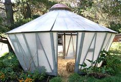 Fiberglas Yurt Greenhouse in Big Sur Permaculture Design, Front Courtyard, Garden Makeover, Earth Homes, Family Garden, Geodesic Dome, Sustainable Architecture, Big Sur, Tropical Plants