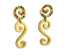 Spiral drop earrings, 18k gold Tourmaline  earrings, Anniversary gift, Elegant Earrings, Dangle earrings, Colorful earrimgs, Christmas gift