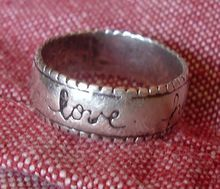 "Sterling Silver  Ring Band  ""love happiness friendship"""