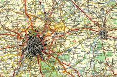 Kaart van Brussel, Michelin, 1/200.000, nr 2 Oostende-Brussel-Luik, 1965
