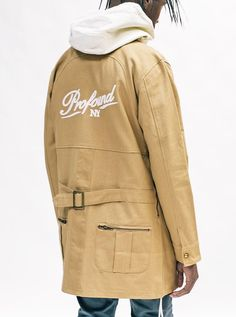 "Profound Aesthetic Elongated Cold War Work Jacket in Camel  ""On the Streets I Ran"" Fall 2015 Collection profoundco.com"