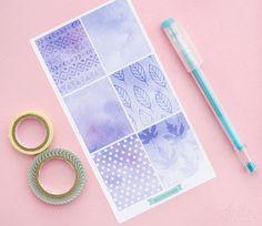 Watercolor purple box stickers  6 decorative by HelloPetitePaper