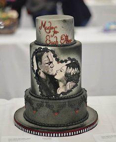 Bolo Halloween, Halloween Wedding Cakes, Halloween Cakes, Gothic Wedding Cake, Gothic Cake, Camo Wedding, Dream Wedding, Wedding Shit, Cupcake Torte