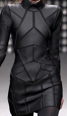 Geometric Fashion - black on black dress with stitched shape segments - futuristic suit
