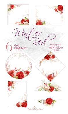 Hand painted Red Roses Watercolor Clip Art Clipart Flower