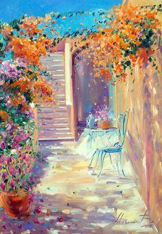 Summer landscape painting Beautiful landscape Flowers