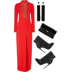 Red Gown by ashola18 on Polyvore featuring Tom Ford, Christian Louboutin, Diane Von Furstenberg, women's clothing, women's fashion, women, female, woman, misses and juniors
