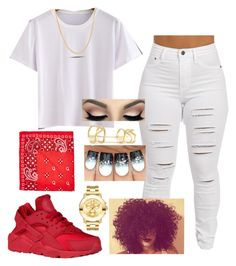 """""""BacktoBack~Drake"""" by kitty900 ❤ liked on Polyvore featuring WithChic, Pori, GUESS, Edge of Ember and Movado"""