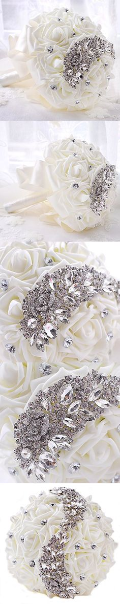 Abbie Home Luxury Wedding Bride Holding Rose Flowers Bouquet with Rhinestone Brooch Lace Handle