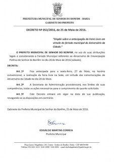 NONATO NOTÍCIAS: DECRETO 053/2016: ANTECIPACÃO DA FEIRA LIVRE PARA ...