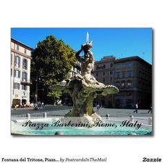 Fontana del Tritone, Piazza Barberini, Rome, Italy Postcard