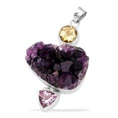 ARTISAN CRAFTED Amethyst Drusy, Amethyst and Citrine Heart Pendant in Sterling Silver 98.24 Ct.